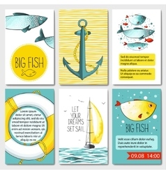 Set of 6 cards templates with sea background vector