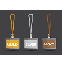 gold silver and bronze lanyards vector image