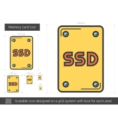 Memory card line icon vector