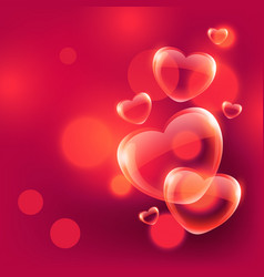 Beautiful love hearts bubbles floating in air on vector