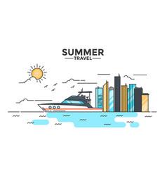 Flat line design hero image - yacht vector
