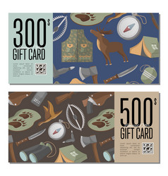 Hunting shop gift card templates vector