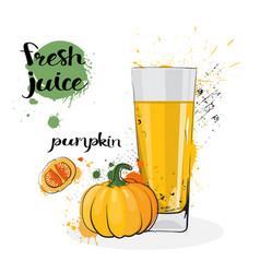 pumpkin juice fresh hand drawn watercolor vector image
