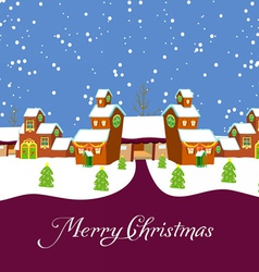 Village holiday card vector