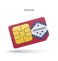 State of arkansas phone sim card with flag vector