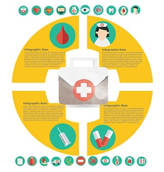 Medical infographic element with icon in crumpled vector