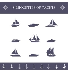 Ship sailing yachts and cruise boats silhouette vector