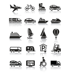 Set of simple transport icons with reflection vector