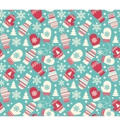 Seamless winter holidays pattern with mittens vector