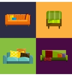 Sofa in flat icons set vector