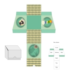 Box template gift package alice in wonderland vector