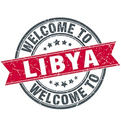 Welcome to libya red round vintage stamp vector