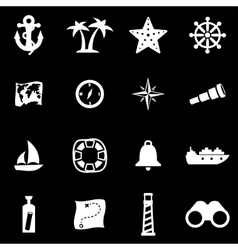 white nautical icon set vector image