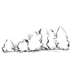 Hand drawn cartoon tree vector image