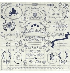 Pen drawing rustic floral design elements vector