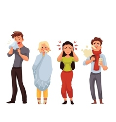 Set of sick people cartoon style vector