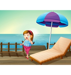 A lady with a juice at the wooden bridge vector image vector image