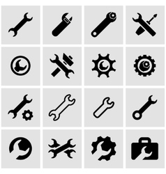 black settings wrench icon set vector image vector image