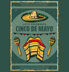 Cinco de mayo mexican sombrero retro sketch poster vector