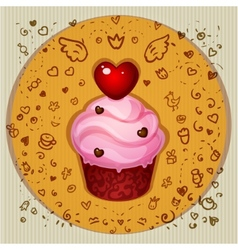 Cute party cupcake vector