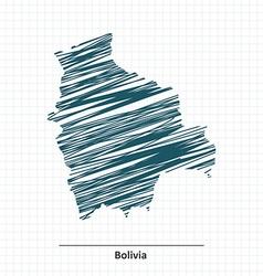 Doodle sketch of bolivia map vector