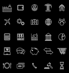 Economy line icons on black background vector