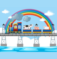 Farmer and animals on the train ride vector