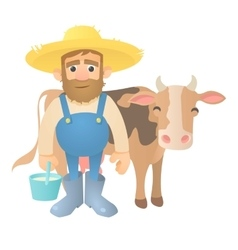 Farmer with cow icon flat style vector