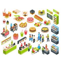 Fast food isometric cort set vector