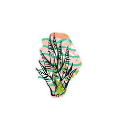 hand drawn abstract graphic drawing aloe vector image