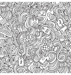 hand drawn sale shopping seamless pattern vector image vector image