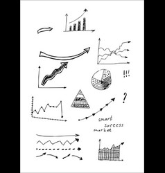 hand drawn set of arrows in doodles style vector image vector image