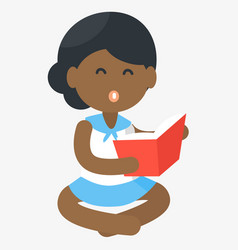 happy african girl reading open book vector image vector image