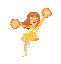 Happy little cheerleader girl dancing with yellow vector