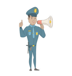Hispanic policeman speaking into loudspeaker vector