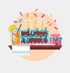 holiday birthday background with cake present and vector image