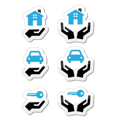 Home car keys with hands icons set vector image