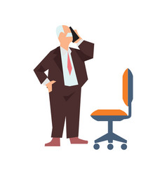 Old man in business suit speak phone vector