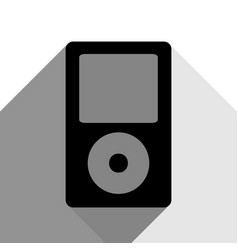 Portable music device black icon with two vector
