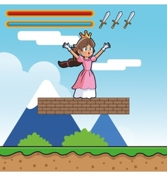 Princess and videogame design vector