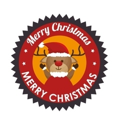 Reindeer animal christmas icon vector