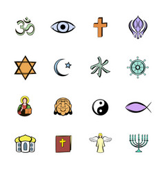 Religion comics icons set cartoon vector