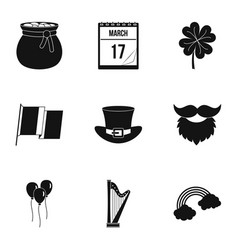Saint patrick day icon set simple style vector