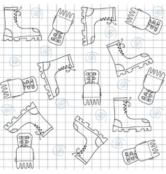 Seamless pattern with gumshoes High sneakers vector image vector image