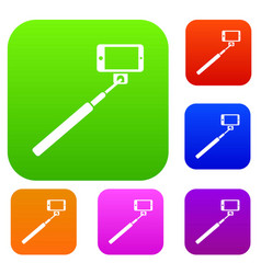 Selfie stick and smartphone set collection vector