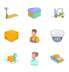 Service industry icons set cartoon style vector