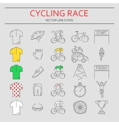 Set of 25 Cycling Race modern linear icons vector image