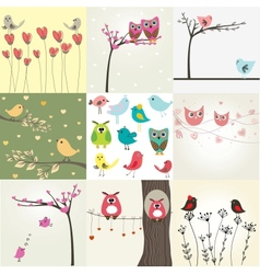 Set of 9 valentines cards with cute birds couples vector