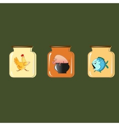 Set of containers for preservation design vector image vector image