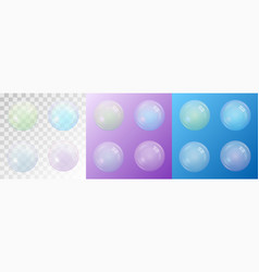 Set of transparent matte soap bubbles vector